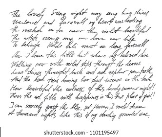 Handwritten letter. Handwriting. Calligraphy. Manuscript. Font. Undefined text with english words texture background