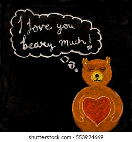 """Handwritten love message """"I love you beady much"""" with chalk in a blackboard."""