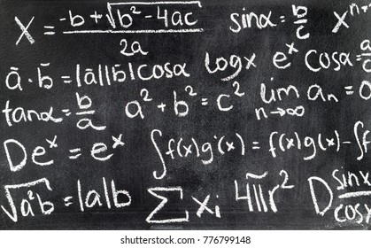 Handwritten mathematical formulas on blackboard written with chalk. Chalkboard full of theory and calculations. Math equation background.