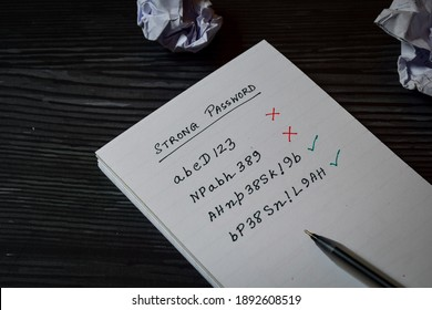 Handwritten message in notebook. A person's choice of strong password with long alphanumeric character and symbols. Concept of securing online account from being hacked, selective focus.