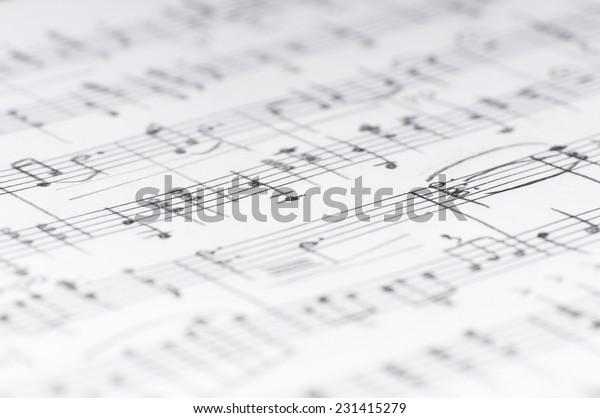 Handwritten Musical Notes Shallow Dof Stock Photo (Edit Now) 231415279