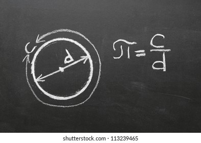 Handwritten on school blackboard definition of main mathematical constant the number PI. It is the circumference of any circle, divided by its diameter.