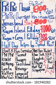 Handwritten signboard with excursion offers in Thailand