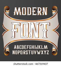 handy crafted modern label font. On dark background