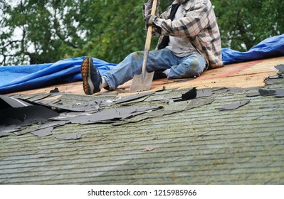 handy man working on repairing the roof