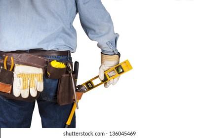 Handyman carpenter with tool belt