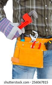 Handyman holding hand tool on white background