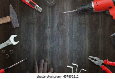 Handyman tools for home repairs. Top view and free space for text.
