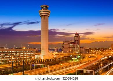 Haneda Airport control tower in Tokyo, Japan.