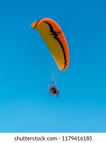 Hang glider at the Hot air balloons festival in Bouzov.