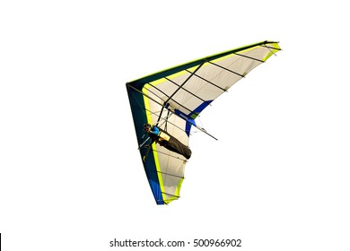hang glider in soaring flight off lookout mountain,isolated on white