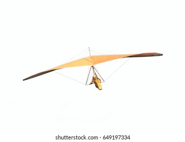 Hang glider is soaring in a gliding flight isolated on white, hanging on a harness below the wing