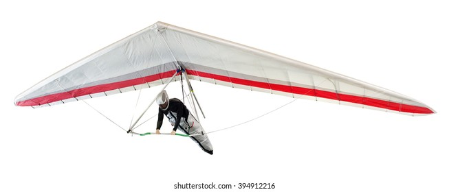 Hang glider soaring the thermal updrafts suspended on a harness below the wing, isolated on white
