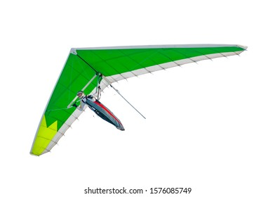 Hang glider wing with green sail isolated on white. Extreme sport template