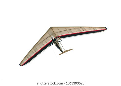 Hang glider wing with pilot isolated on white.
