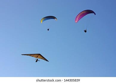 Hang gliding in Crimea taken in summer, Ukraine