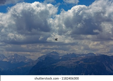 Hang gliding in Kronplatz on a mountain of the Dolomites in South Tyrol, Italy