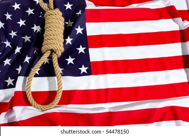 Hang knot on American flag. Death penalty gallows,