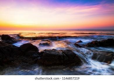 Hang Rai Beach.Nui Chua national park, Ninh Thuan,Vietnam,amazing landscape when the waves on a large rock and make an wonderful waterfall.