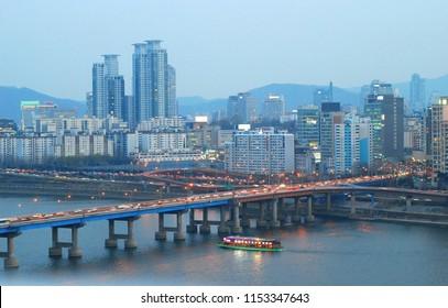 Hangang river cruise ship landscape - Seoul, Korea