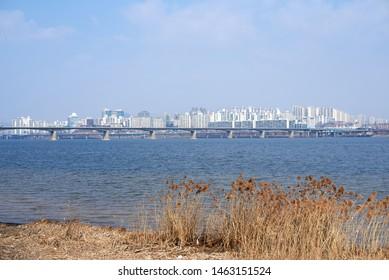 Hangang River and Hangangcheolgyo in Seoul, South Korea.