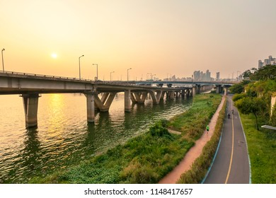 Hangang River Park sunset Seoul South Korea