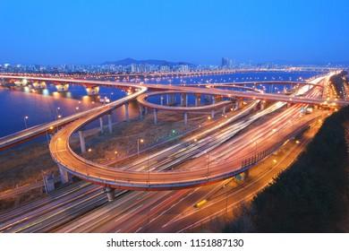 Hangang River road night view - Seoul, Korea