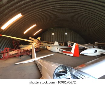 Hangar filled with sailplanes