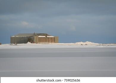 Hangar at Kaktovik airstrip on Barter Island BTI, Alaska