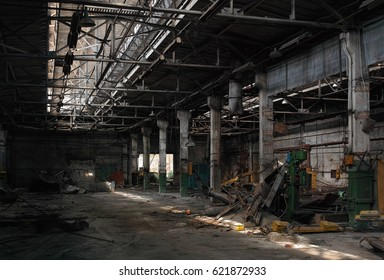 Hangar in the old abandoned factory.