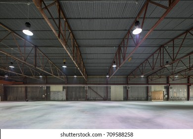 Hangar for storage. Industrial warehouse.
