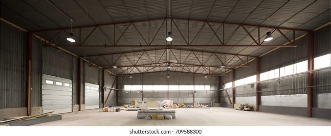 Hangar for storage. Industrial warehouse.