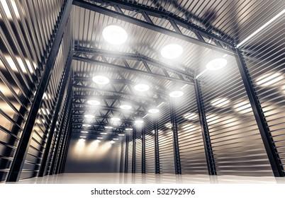 Hangar, warehouse with vintage retro lamps. 3D rendering.