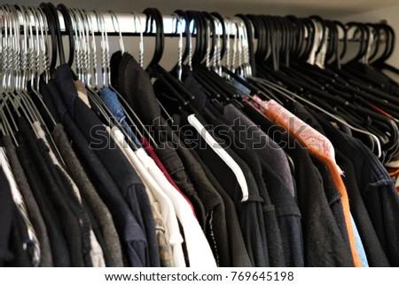 Hanger Clothes On Rack Inside Wardrobe Stock Photo Edit Now
