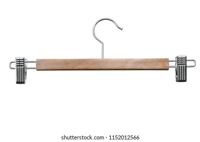 Hanger for clothes with two clips on a white background