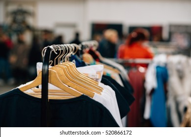 Hanger with new clothes in a clothing store