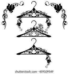 hangers among rose flowers - black and white floral design set