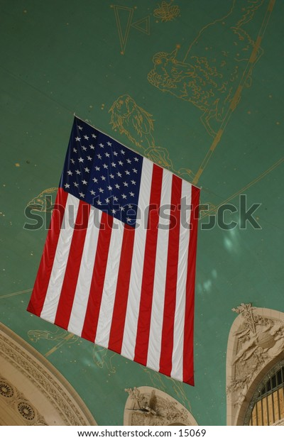 hanging American flag - indoors