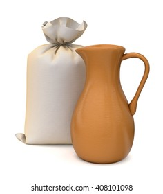 Hanging bag and jug. 3d illustration. Isolated on white