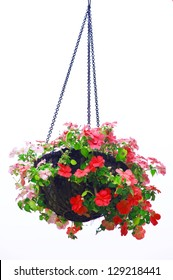 Hanging basket of flowers isolated on white background