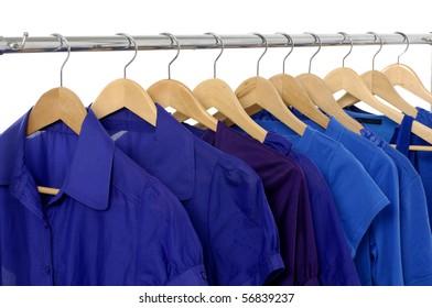 Hanging blue t -shirts