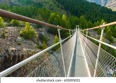 Hanging bridge in the area Zermatt, Swiss Alps, Switzerland