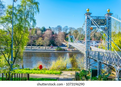 Hanging bridge over river Dee in Chester, England