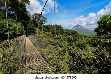 Hanging Bridge with view of Arenal Volcano