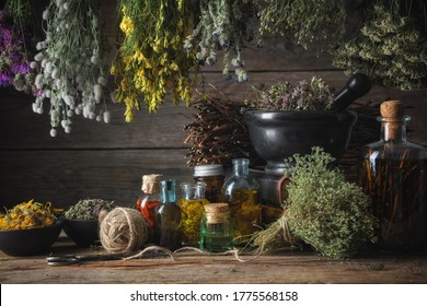 Hanging bunches of medical herbs, mortar and bowl with dried medicinal plants, infusion and essential oil bottles. Alternative medicine.