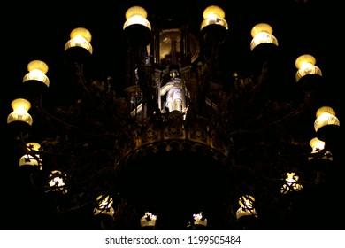 Hanging candelabrum in a church in Barcelona, Spain
