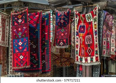 Hanging carpets in the Old Bazaar of Skopje, Macedonia