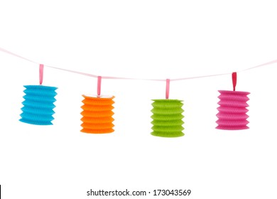 Hanging chain with colorful paper Chinese lanterns isolated over white background