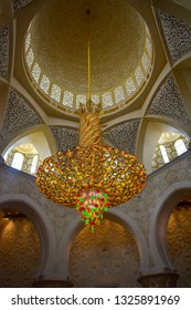 A hanging chandelier from king zayed mosque Abudhabi.image taken in 30/11/2018 from Abudhabi,UAE