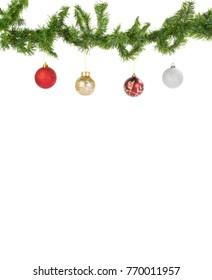 Hanging Christmas Balls on flir branches on white background